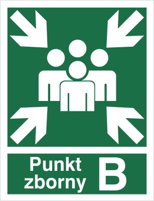Znak Miejsce zbiórki do ewakuacji - punkt zborny B (120-02)