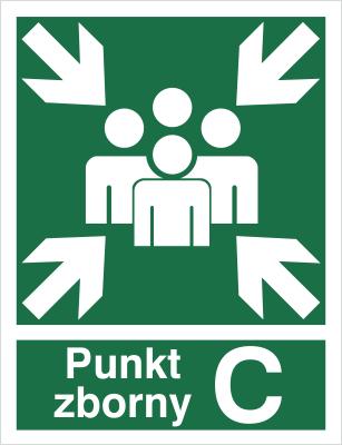 Znak Miejsce zbiórki do ewakuacji - punkt zborny C (120-03)