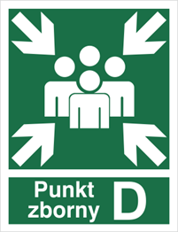 Obrazek dla kategorii Znak Miejsce zbiórki do ewakuacji - punkt zborny D (120-04)