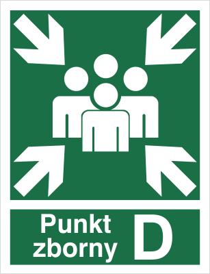 Znak Miejsce zbiórki do ewakuacji - punkt zborny D (120-04)