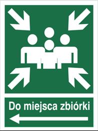 Obrazek dla kategorii Znak Do miejsca zbiórki (w lewo) (120-12)