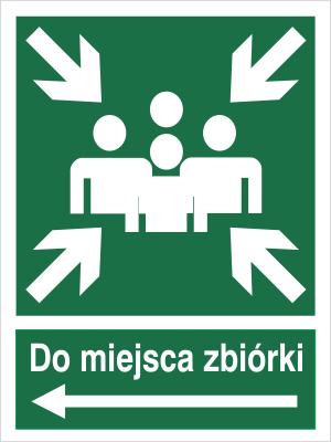 Znak Do miejsca zbiórki (w lewo) (120-12)