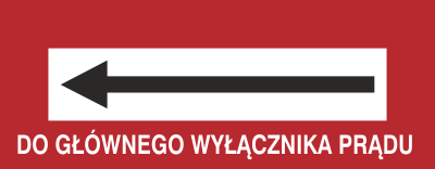 Znak Do głównego wyłącznika prądu (w lewo) (231-19)