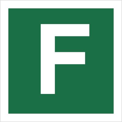 Znak Stacja ewakuacyjna F (120-28)