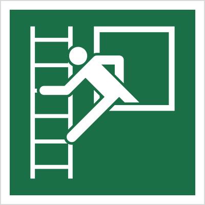 Znak Okno ewakuacyjne z drabiną ewakuacyjna (E16)