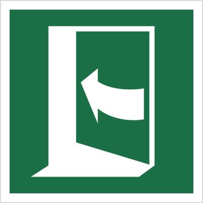 Znak Pchać z lewej, aby otworzyć (E22)