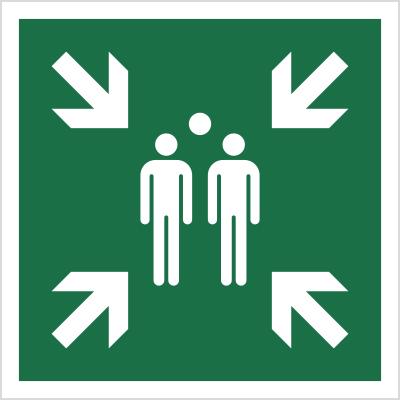 Znak Miejsce zbiórki do ewakuacji (E07)