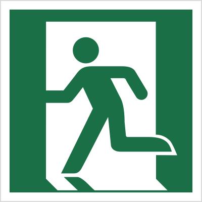 Znak Wyjście ewakuacyjne (lewostronne) (E01)