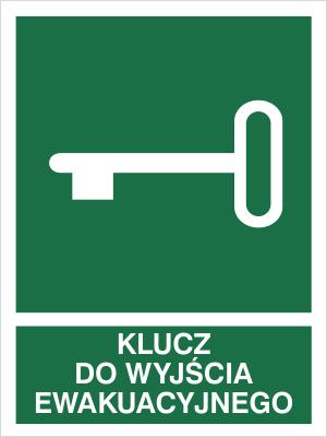 Znak Klucz do wyjścia ewakuacyjnego - z opisem (117-01)