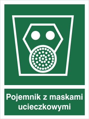 Znak Pojemnik z maskami ucieczkowymi (119)