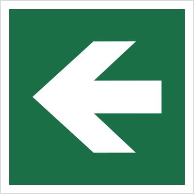 Znak Kierunek drogi ewakuacyjnej - strzałka prosta (E00-01)