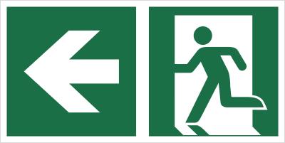 Znak łączony wyjście ewakuacyjne ze strzałką E01-LL (E01-0LL)