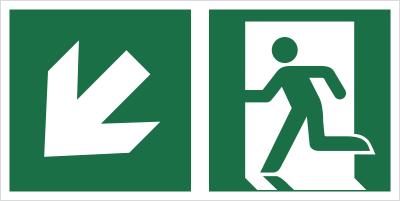 Znak łączony wyjście ewakuacyjne ze strzałką E01-LD (E01-0LD)