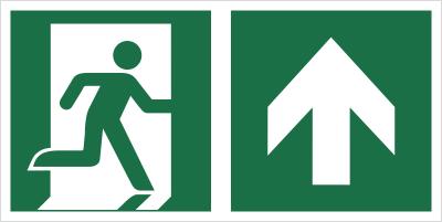 Znak łączony wyjście ewakuacyjne ze strzałką E02-GG (E02-0GG)