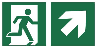 Znak łączony wyjście ewakuacyjne ze strzałką E02-PG (E02-0PG)