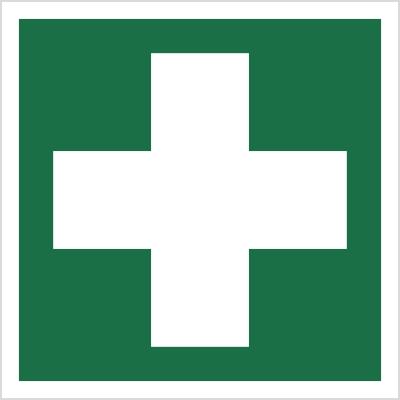 Znak pierwsza pomoc medyczna wg pn-en iso 7010 (E03)