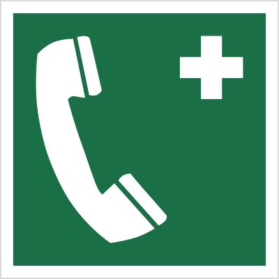 Znak telefon alarmowy wg pn-en iso 7010 (E04)