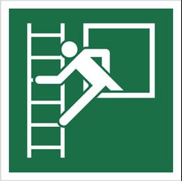 Obrazek dla kategorii Znak okno ewakuacyjne z drabiną ewakuacyjną wg pn-en iso 7010 (E16)