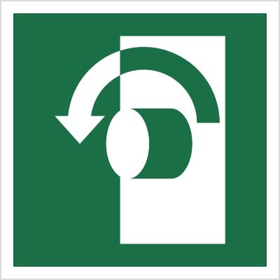 Znak Przekręcić w lewo, aby otworzyć (E18)