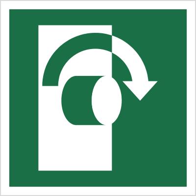 Znak Przekręcić w prawo, aby otworzyć (E19)