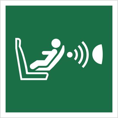 Znak System detekcji obecności i położenia fotelika dziecięcego (E14)