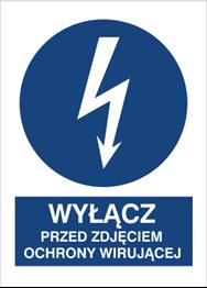 Obrazek dla kategorii Znak Wyłącz przed zdjęciem osłony wirującej (430-16)