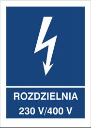 Obrazek dla kategorii Znak Rozdzielnia 230V- 400V (530-25)
