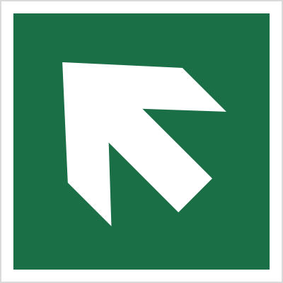 Znak kierunek drogi ewakuacyjnej - strzałka skośna (E00-02)