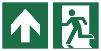 Znak łączony wyjście ewakuacyjne ze strzałką w górę (E01-0GG)