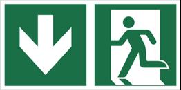 Obrazek dla kategorii Znak łączony wyjście ewakuacyjne ze strzałką w dół (E01-0DD)