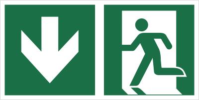 Znak łączony wyjście ewakuacyjne ze strzałką w dół (E01-0DD)