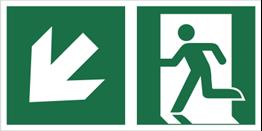 Obrazek dla kategorii Znak łączony wyjście ewakuacyjne ze strzałką po skosie (lewy dolny róg) (E01-0LD)