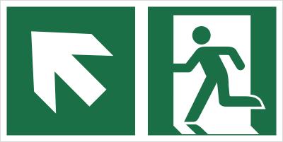 Znak łączony wyjście ewakuacyjne ze strzałką po skosie (lewy górny róg) (E01-0LG)