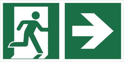 Znak łączony wyjście ewakuacyjne ze strzałką w prawo (E02-0PP)