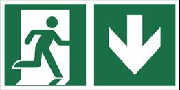 Obrazek dla kategorii Znak łączony wyjście ewakuacyjne ze strzałką w dół (E02-0DD)