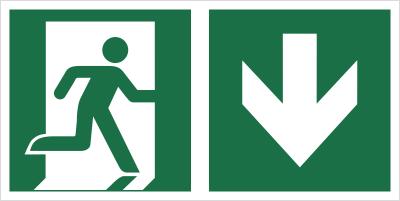 Znak łączony wyjście ewakuacyjne ze strzałką w dół (E02-0DD)