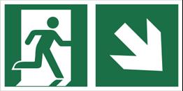 Obrazek dla kategorii Znak łączony wyjście ewakuacyjne ze strzałką po skosie (lewy dolny róg) (E02-0PD)