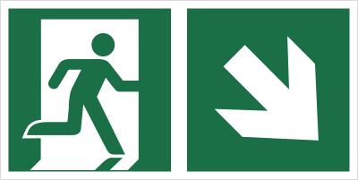 Znak łączony wyjście ewakuacyjne ze strzałką po skosie (lewy dolny róg) (E02-0PD)