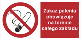 Obrazek dla kategorii Znak Zakaz palenia obowiązuje na terenie całego zakładu (209-01)