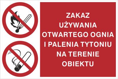 Znak Zakaz używania otwartego ognia i palenia tytoniu na terenie całego obiektu (209-09)