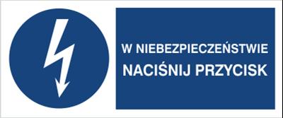 Znak W niebezpieczeństwie naciśnij przycisk (430-12)