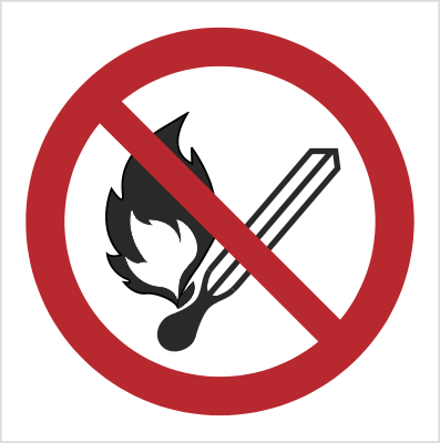 Znak Zakaz używania otwartego ognia (P03)