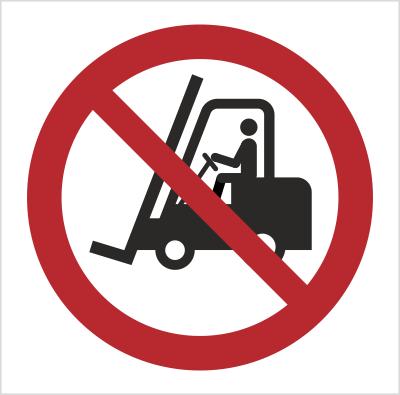 Znak Zakaz ruchu urządzeń do transportu poziomego (P06)