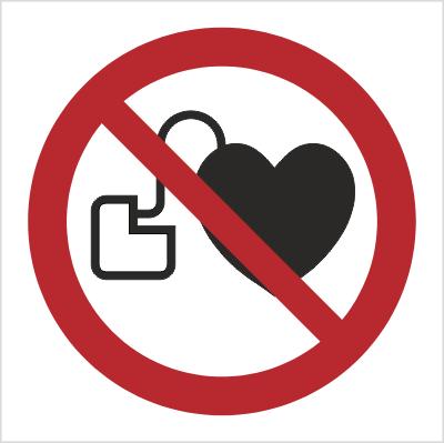 Znak Zakaz wstępu osobom ze stymulatorem serca (P07)