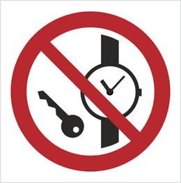 Obrazek dla kategorii Znak Zakaz wstępu z przedmiotami metalowymi i zegarkami (P08)