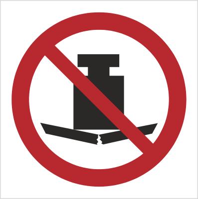 Znak Zakaz umieszczania ciężkich przedmiotów (P12)