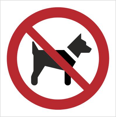 Znak Zakaz wstępu ze zwierzętami (P21)