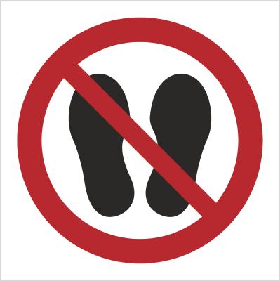 Znak Zakaz chodzenia i stawania (P24)