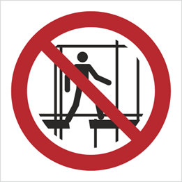 Obrazek dla kategorii Znak Zakaz Używania niekompletnego rusztowania (P25)