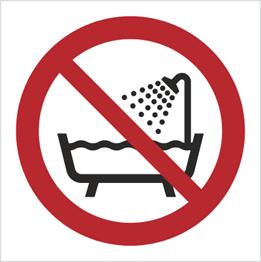 Obrazek dla kategorii Znak Zakaz używania urządzenia w wannie, pod prysznicem i zbiornikach wypełnionych wodą (P26)